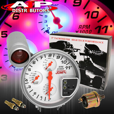 "For Benz Lotus White Face 5"" Jdm Racing Gauge Cluster Tach Oil Water Temp Kit"