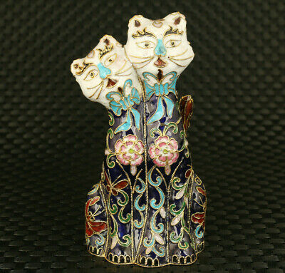 old chinese cloisonne hand painting pair cat statue exquisite decor collect gift