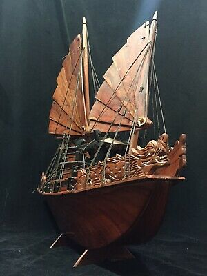 """Model Boat Antique Chinese Junk Ship Hand Carved & Assembed 25"""" GORGEOUS"""