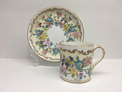Crown Staffordshire - Demitasse Cup and Saucer - Butterfly Birds 15663 - England