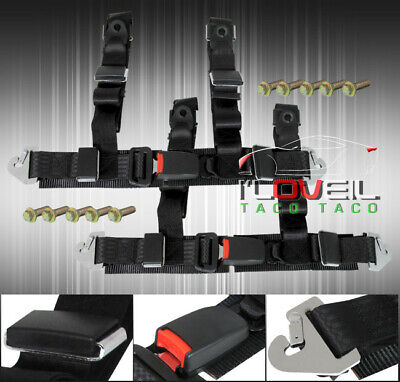 """Pair Of 2"""" Black Nylon 4 Point Tune Seat Belt Harness Quick Snap Strap Buckle"""