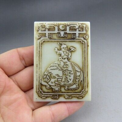 China, jade,collectibles,antique,jade,Hetian jade,elephant and child,pendant A97