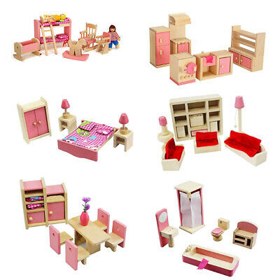 Dolls House Furniture Wooden Set Miniature 7 Room People Doll Toys Kids Play L6