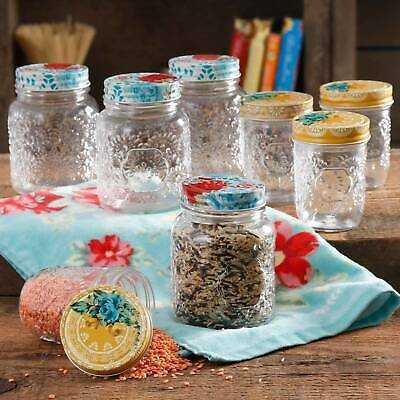 The Pioneer Woman Betsy 8-Ounce and 16-Ounce Storage Jar Set Set of 8 Durable