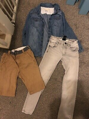Age 9 Bundle River Island Denim Shirt, Beige Chino Shorts And Grey Skinny Jeans