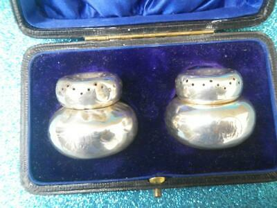 Antique 1905 Boxed Engraved Silver Salt Shakers W Pearsall Birmingham England