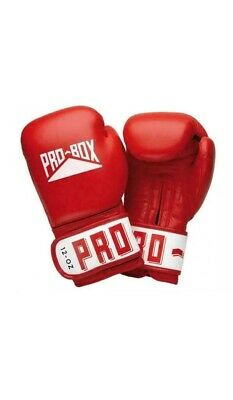 Red Pro Box Leather Boxing Sparring Gloves Club Essentials 12oz + 4.5m Handwraps