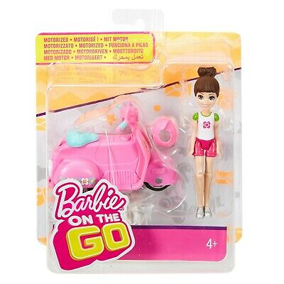 "Barbie On The Go with Pink Mini Scooter and 4"" Doll (2017, By Mattel) Brand New"