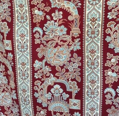 Antique French Fabric Printed Cotton Upholstery Decor 19th century Blue Burgundy