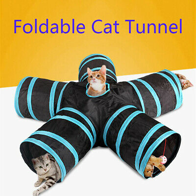 5 Holes Funny Pet Cat Tunnel Play Tubes Balls Collapsible Crinkle Kitten Toys-SL