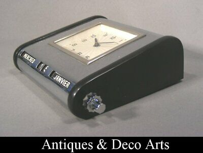 Art Deco Desk Clock & Calendar Chrome-plated Metal & Bakelite in French Language