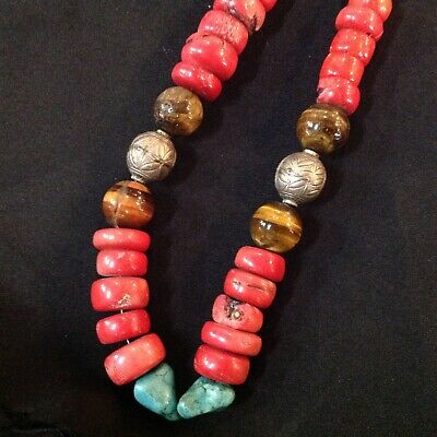 Antique Tibetan Chinese Natural Red Coral Turquoise  tiger eye silver beads 68cm
