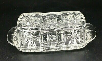 Anchor Hocking EAPC Star of David Clear Glass Covered Butter Dish Vintage