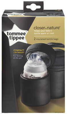 Tommee Tippee 2 x Insulated Milk Bottle Bags PortableTravel Feeding for Baby