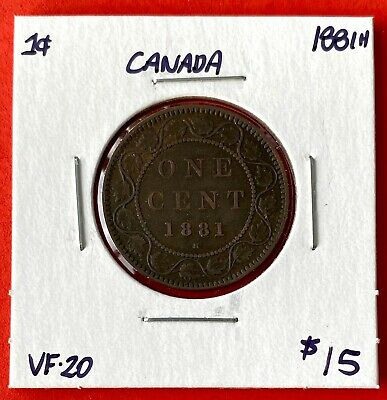 1881 H Canada Large One Cent Coin - Very Fine