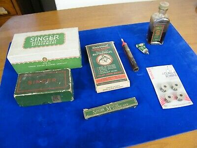 1938 Electric Singer 201 Sewing Machine ACCESSORIES Attachments Oil Button Holer