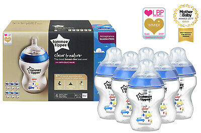 Tommee Tippee | Baby Bottles Decorated for Boys | Anti - Colic Valve | Pack of 6