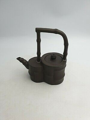 Chinese Yixing Pottery Dark Brown Clay Lidded Teapot Bamboo Effect Long Handle