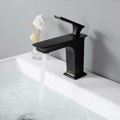 Single Hole Bathroom Sink Faucet Square One Handle Cold Hot Water ORB