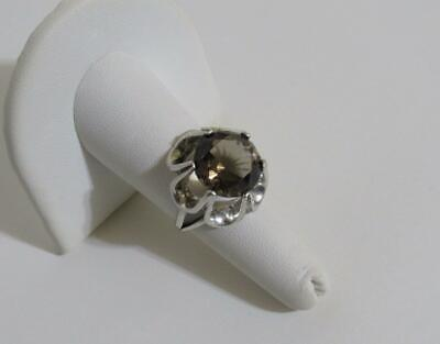 smoky topaz gemstone 925 sterling silver cocktail ring size 7 vintage Art Deco