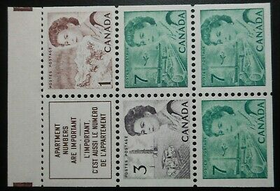 """Canada stamps Scott#453a,  """"Elizabeth"""", Booklet Pane, issues of 1967-1973, OGNH"""