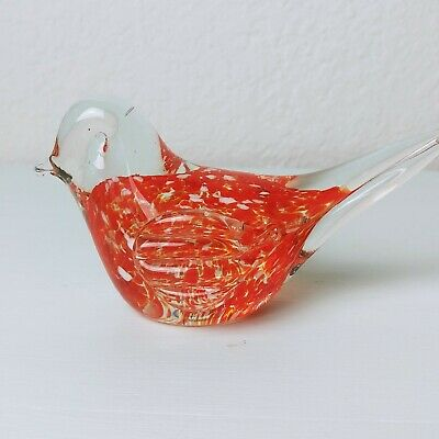 Red Hand Blown Art Glass Bird Speckled Clear Paperweight Collectible Decor