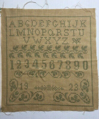 Printed Cross Stitch Sampler on Quilting Fabric Letters Numbers Leaves Border