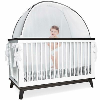 Baby Crib Tent Safety Net Pop Up See Through Soft Mesh Canopy Cover Gray