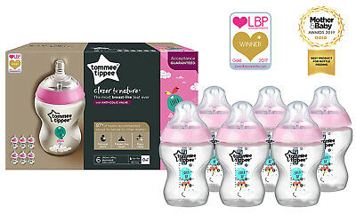 Tommee Tippee | Baby Bottles Decorated for Girl | Anti - Colic Valve | Pack of 6