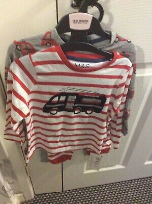 New With Tags Marks & Spencer 2 Pairs Of Fire Engine Pyjamas 18-24 Months