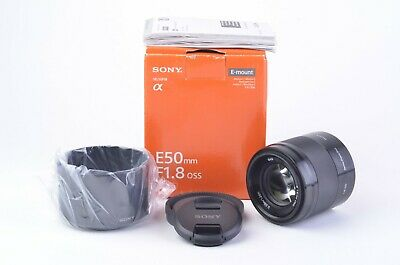 MINT BOXED SONY 50mm f1.8 E OSS LENS SEL50F18, HOOD, CAPS, PAPERS, VERY CLEAN
