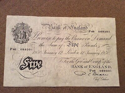 Bank of England £5 Note - 12 January 1950 - Beale White Five Pound Note