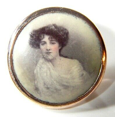 RARE ANTIQUE GENT'S GILT WAISTCOAT BUTTON w/TINTED PHOTO of LOVELY YOUNG WOMAN