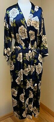 Morgan Taylor Kimino Style Women's Robe S/M Navy with Beige and Green Silky