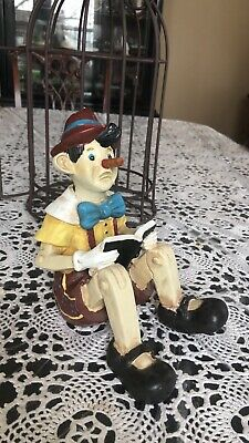 Vintage Rare Wood Carved & Hand Painted Disney's Sitting Pinocchio In Cage