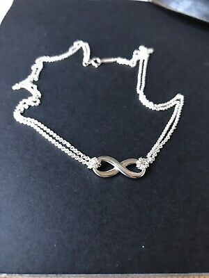 "Tiffany & Co. Sterling Silver Infinity Pendant Double Chain Necklace 16"" Nice!"