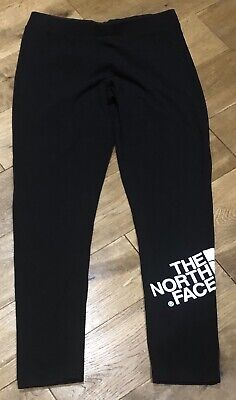 Girls The North Face Logo Leggings In Black & White Size Xl Age 15-16 Years