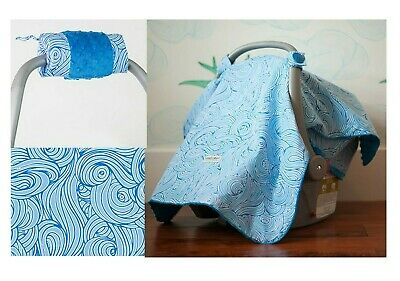 CARSEAT CANOPY ~ NOA ~ Infant Car Seat Cover Cotton & Minky + Handle Cushion