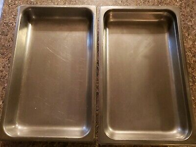 2 Full Size Stainless Steel Steam Table Pans