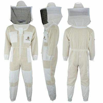 Unisex 3 Layer Bee Suit Ultra Ventilated Beekeeping Suit Round veil