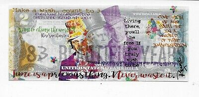 WILLY WONKA $2 US Bill SIGNED by RENCY View Paradise Numbered of 171