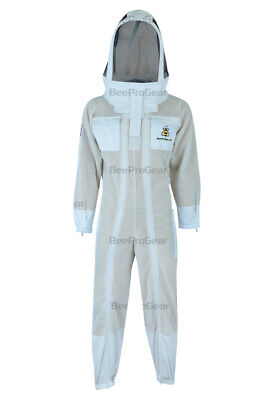 Unisex Ultra Ventilated 3 Layer, Double Zippers, Bee Suit  Astronaut Veil, White
