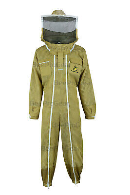 Unisex Ultra Ventilated 3 Layer, Double Zippers, Bee Suit  Round Veil, Brown