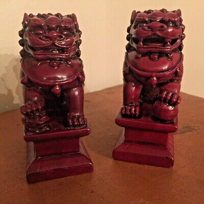 """Pair of Vintage Asian Red Foo Dog Resin Guardian Lion Figurine 4 1/4"""" x 2 1/2"""""""