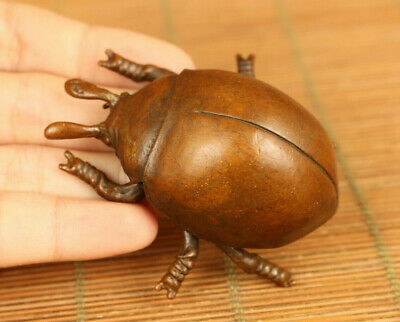 chinese rare old red copper handmade beetle statue figue netsuke Art table deco