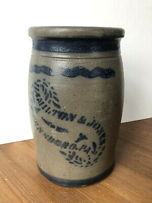 Antique Stoneware Crock Preserve Jar Hamilton & Jones Greensboro PA