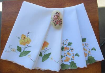 Four Vintage Hand Embroidered/Applique HAND TOWELS 'Never Used'