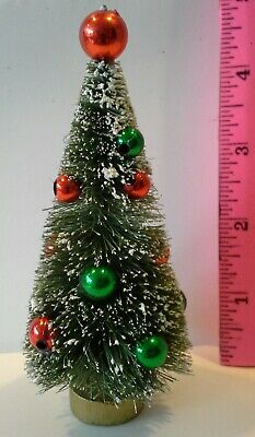 "4-1/2"" Sisal bottle brush Christmas tree frostd green red bead Putz Snow Village"