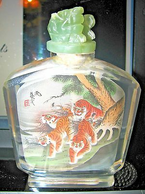 Antique Chinese Snuff Bottle Inside Painted Tigers Carved Jade Top Stopper