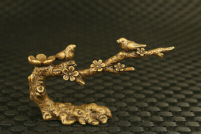 old china bronze hand magpie plum tree fortune statue decorate gift collectable